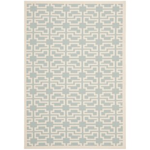 Short Aqua/Beige Indoor/Outdoor Area Rug