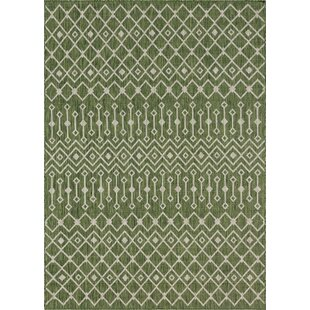 Adley Green Beige Indoor Outdoor Area Rug