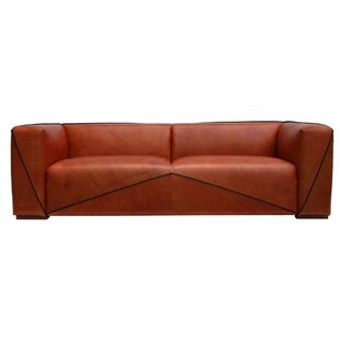 Deandre Leather 4 Seater Sofa By Williston Forge