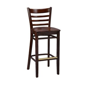 Amoroso Beechwood Ladder Back Wood Seat Bar Stool Red Barrel Studio