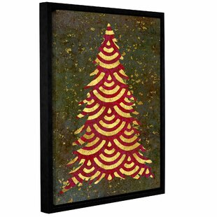 Xmas Tree Garland Framed Graphic Art On Wrapped Canvas