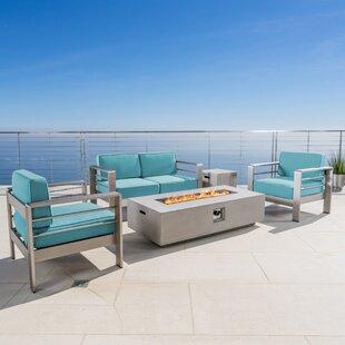 Wade Logan Dickerson 5 Piece Sunbrella Sofa Set with Cushions
