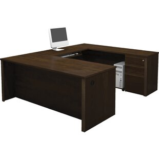 Kenworthy Reversible U-Shape Executive Desk In Cognac Cherry by Ebern Designs Find