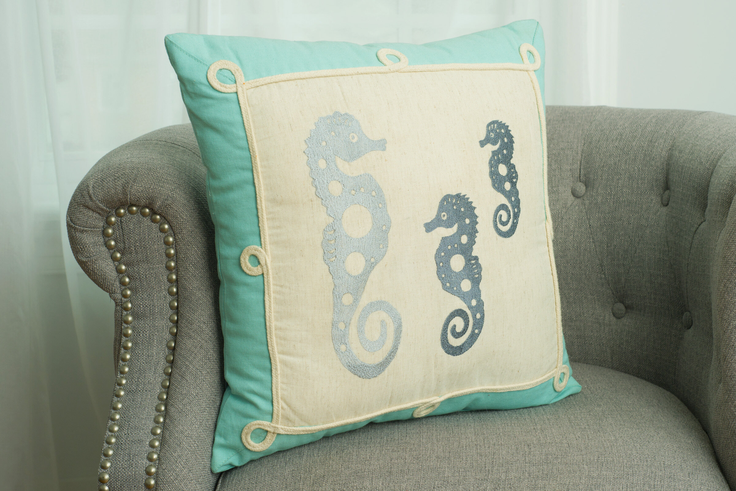 Highland Dunes Darin Seahorse Silhouette Decorative Cotton Throw Pillow Wayfair