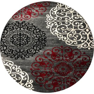 Ingaret Floral Red/Gray Area Rug by Winston Porter