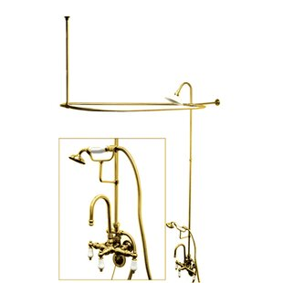 Compare & Buy Vintage Triple Handle High Rise Gooseneck Clawfoot Tub and Shower Package ByKingston Brass