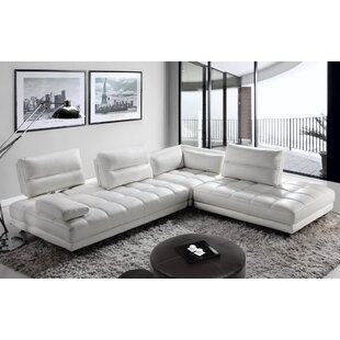 Orren Ellis Carlyle Leather Modular Sectional