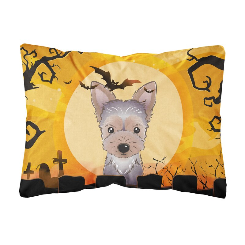 The Holiday Aisle Lospalmos Halloween Yorkie Puppy Fabric Indoor Outdoor Throw Pillow Wayfair