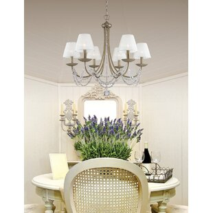 White vintage chandelier wayfair bilger 6 light shaded chandelier aloadofball Images