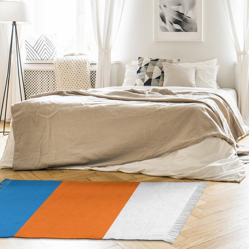 East Urban Home Miami Striped Blue Orange White Area Rug Wayfair