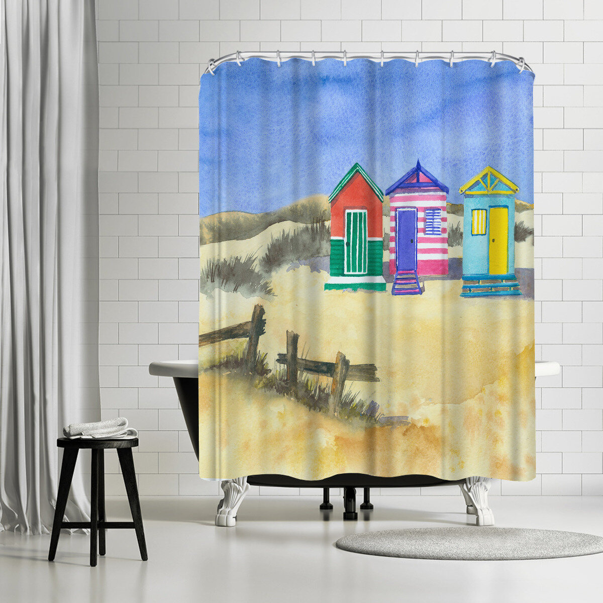 East Urban Home Rachel Mcnaughton Beach Huts Single Shower Curtain Wayfair