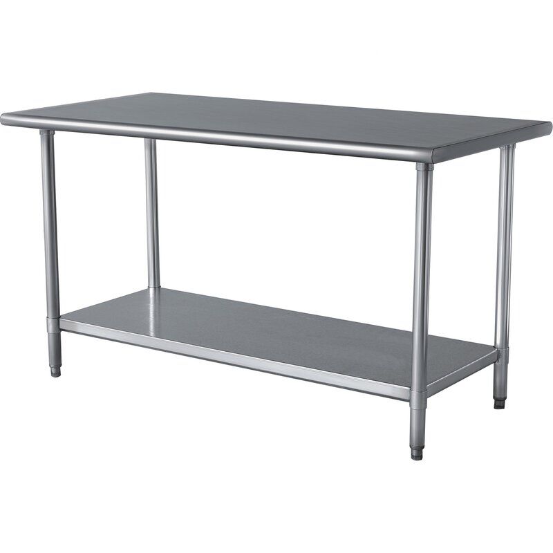 "Wayfair Basics 49""W Stainless Steel Top Workbench"