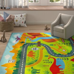 Weranna Dinosaur Dino Safari Road Map Educational Learning Green/Blue Indoor/Outdoor Area Rug
