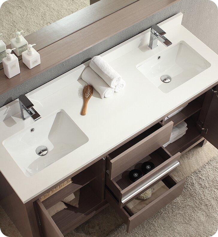 Excellent Allier 60 Double Modern Bathroom Vanity Set With Mirror Interior Design Ideas Truasarkarijobsexamcom