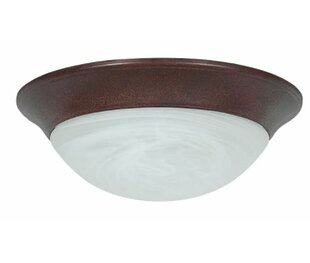 Winston Porter Kirtley Twist Faux Alabaster Outdoor Flush Mount