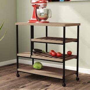 Landis Kitchen Cart with Wooden Top