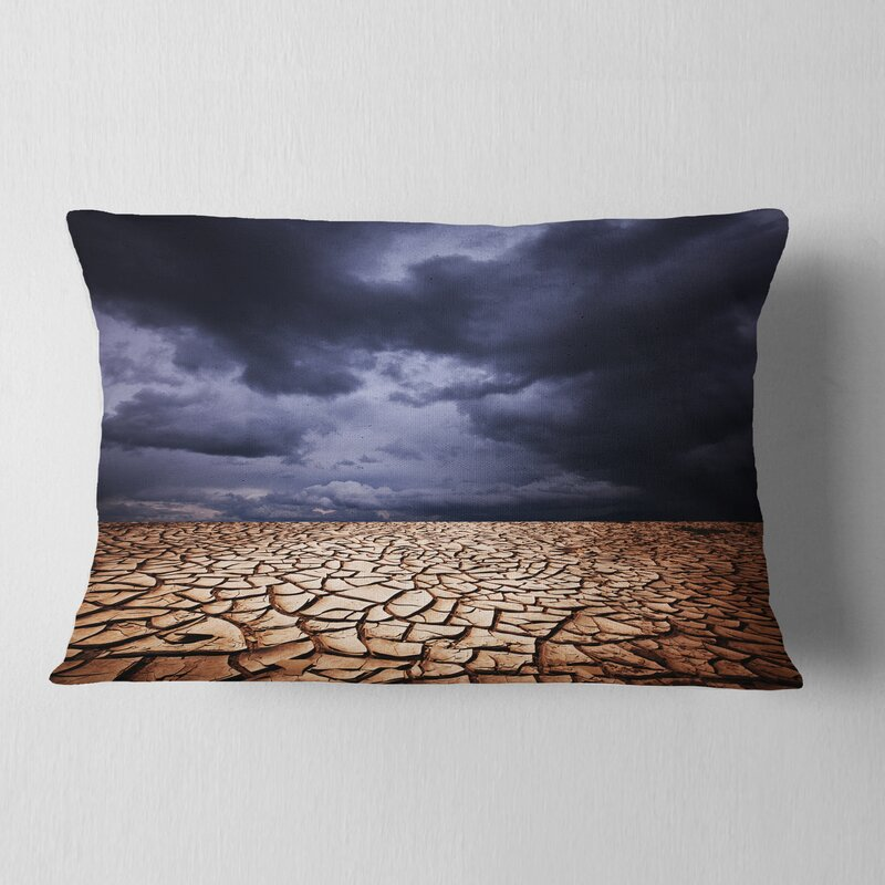 East Urban Home Landscape Dramatic Cloudy Sky Over Drought Land Lumbar Pillow Wayfair
