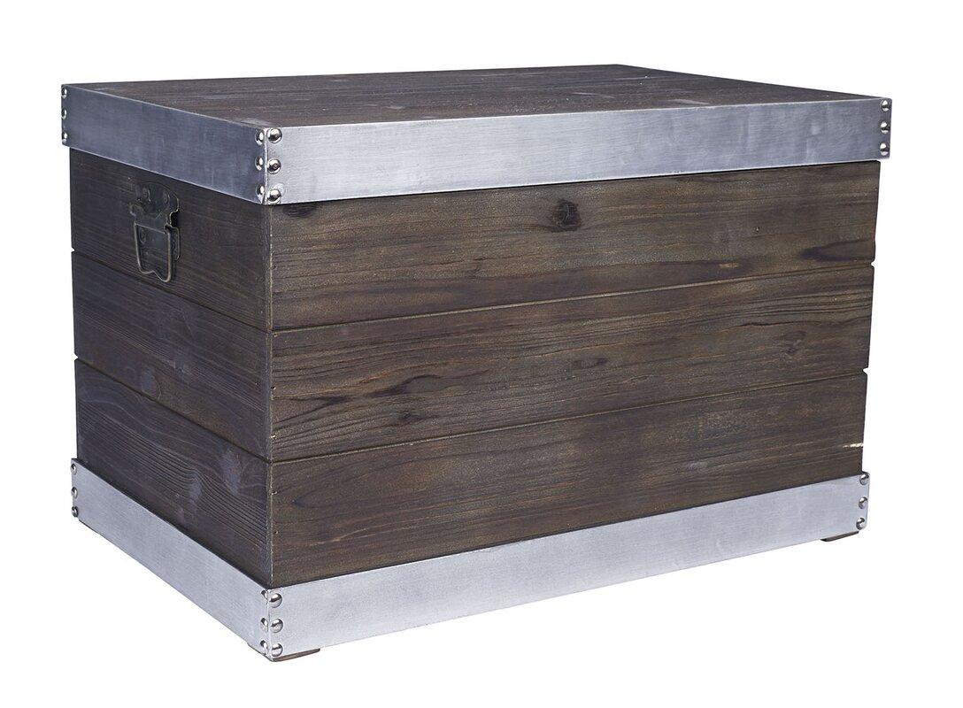 Large Trim Wooden Storage Trunk