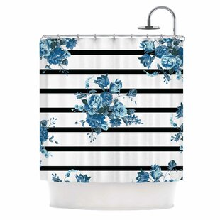 'Blue Floral Strips' Single Shower Curtain by East Urban Home Today Sale Only