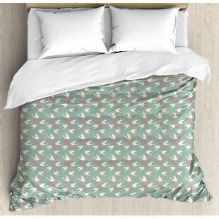East Urban Home Romantic Birds Flying with Little Hearts Love Theme Valentines Day Pattern Duvet Set