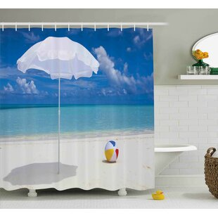 Bullion Beach Summer Season Vibes Seashore Ocean View Sunny Ball Waves Sands Artwork Single Shower Curtain