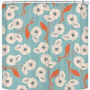 East Urban Home lela Retro Bloom Garden 003 Shower Curtain