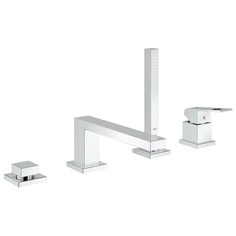 Grohe Eurocube Single Handle Deck Mount Roman Tub Faucet with Hand ...