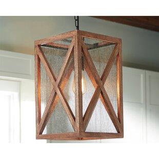 Union Rustic Tobiah Wood 1-Light Rectangle Pendant
