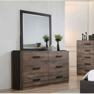 Riddick 6 Drawer Double Dresser with Mirror by Loon Peak