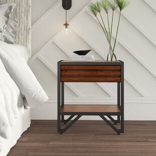 Lund Stacked Wood 1 Drawer Nightstand by Mercury Row