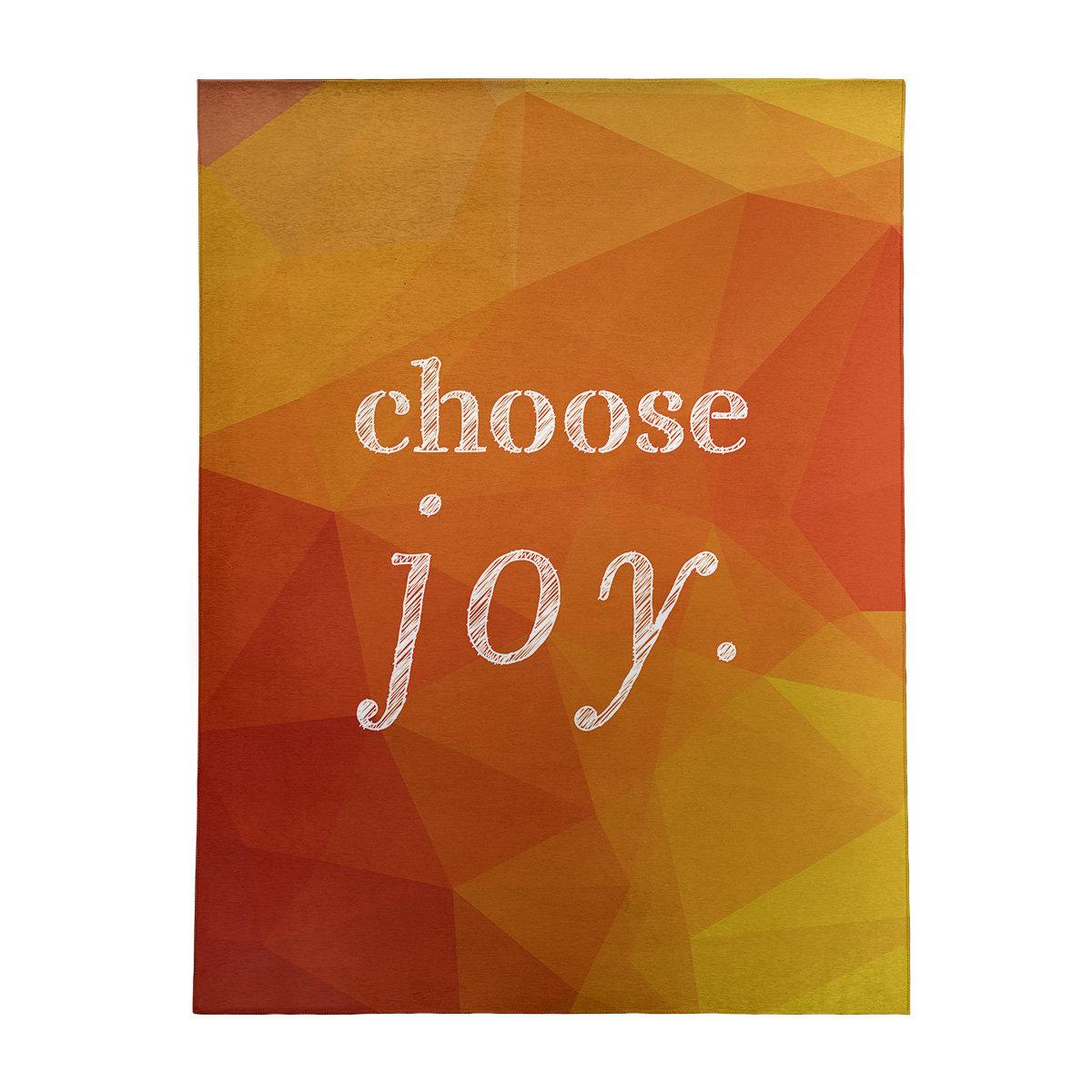 East Urban Home Faux Gemstone Choose Joy Quote Poly Chenille Rug Wayfair