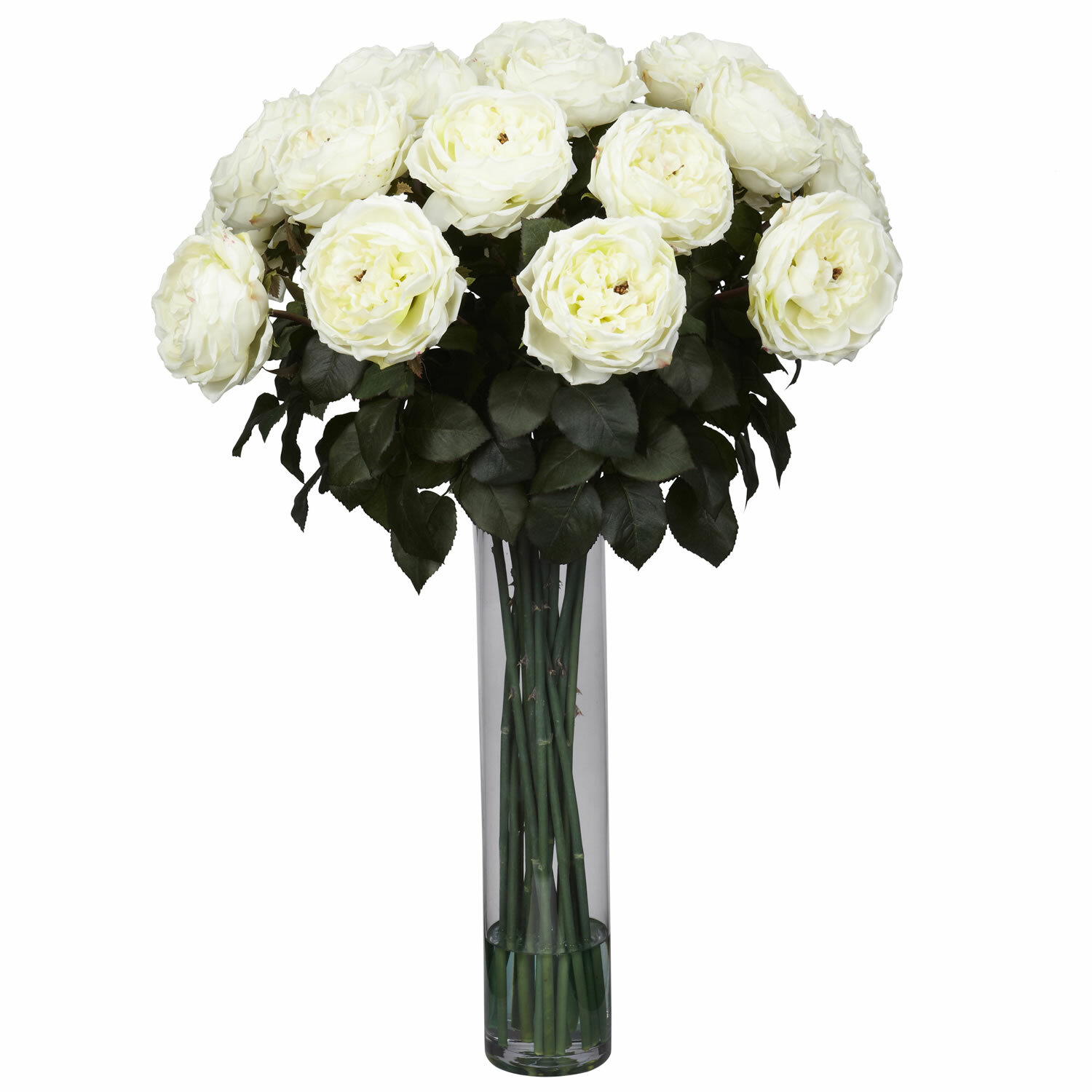 Nearly Natural Fancy Rose Silk Flower Arrangement In White Reviews