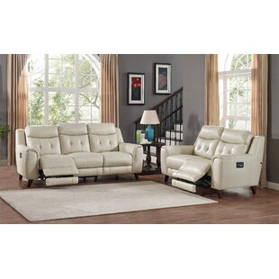 Paramount Reclining Leather 2 Piece Living Room Set by HYDELINE