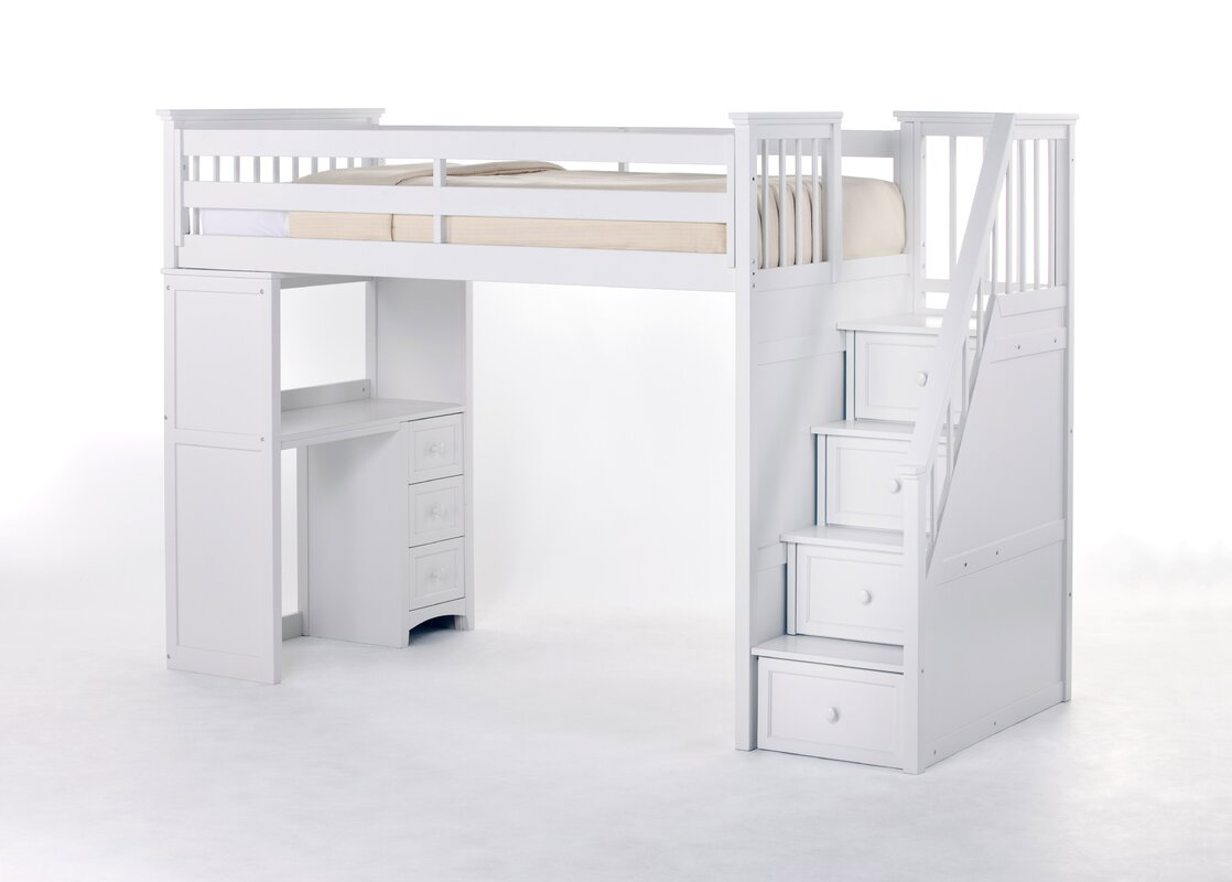 Design Bed With Desk harriet bee lyric stair loft bed with desk end reviews wayfair end