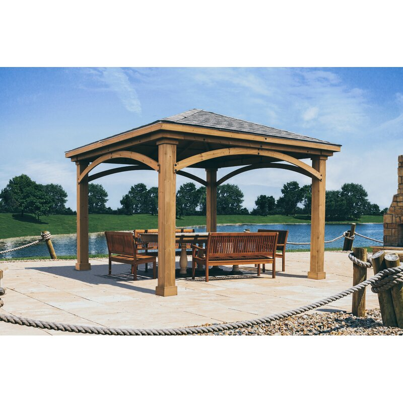 12 Ft D Solid Wood Patio Gazebo