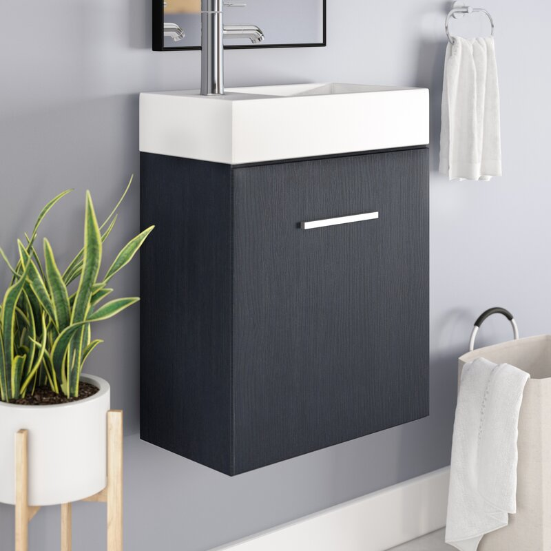 tenafly 19 wall mounted single bathroom vanity set - Wall Mount Bathroom Vanity