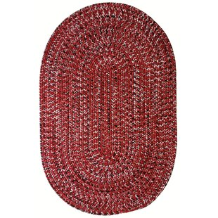 Aarush Hand-Braided Red/White Indoor/Outdoor Area Rug By Isabelline