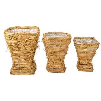 Allmodern Abaca Stripes 3 Piece Wicker Rattan Basket Set Reviews Wayfair