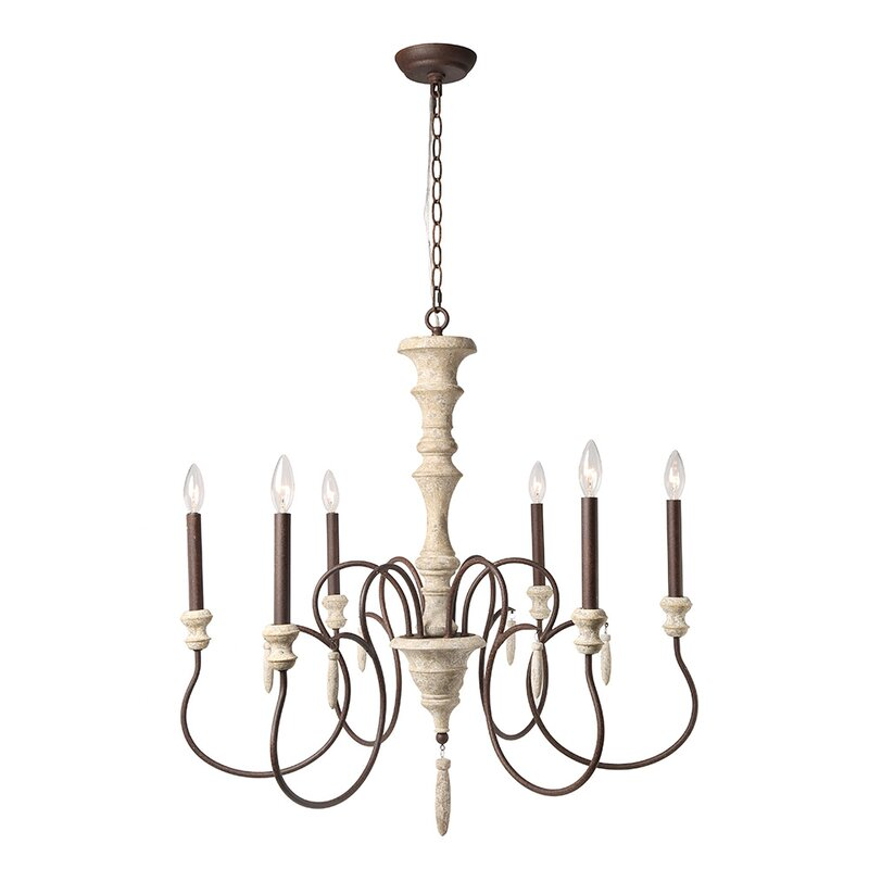 Lebrun Shabby Elegance French Country 6-Light Candle Style Classic / Traditional Chandelier