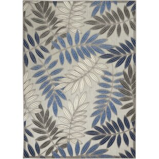 Seaside Contemporary Leaves Handwoven Flatweave Gray/Blue Indoor/Outdoor Area Rug
