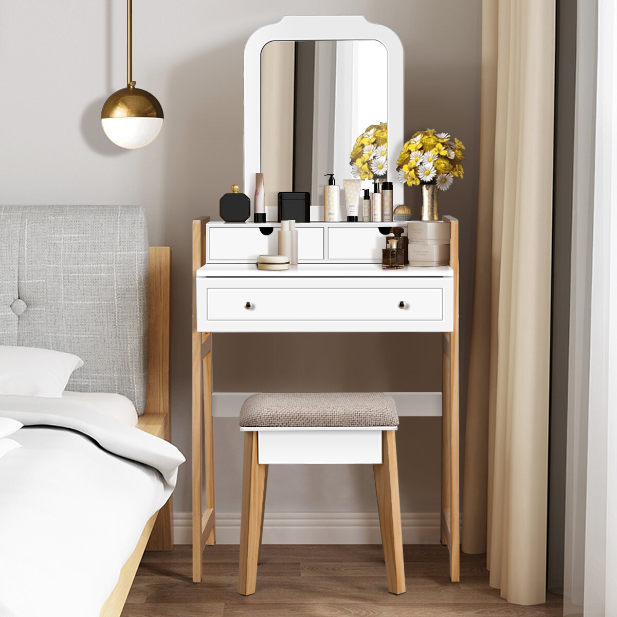 Incredible Crebilly Makeup Vanity Set With Stool And Mirror Ocoug Best Dining Table And Chair Ideas Images Ocougorg