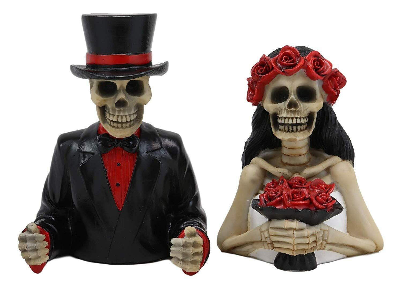 Halloween Skull Skeleton Romantic Couple Wedding Shower Curtain Set Bath Decor