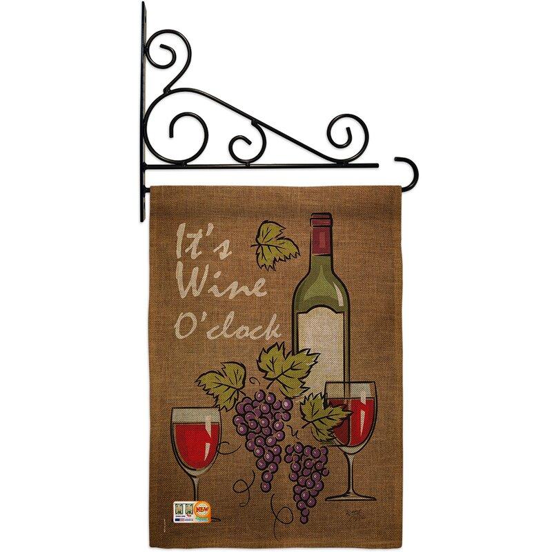 Breeze Decor It S Wine Happy Hour And Drinks 2 Sided Burlap 19 X 13 In Garden Flag Wayfair