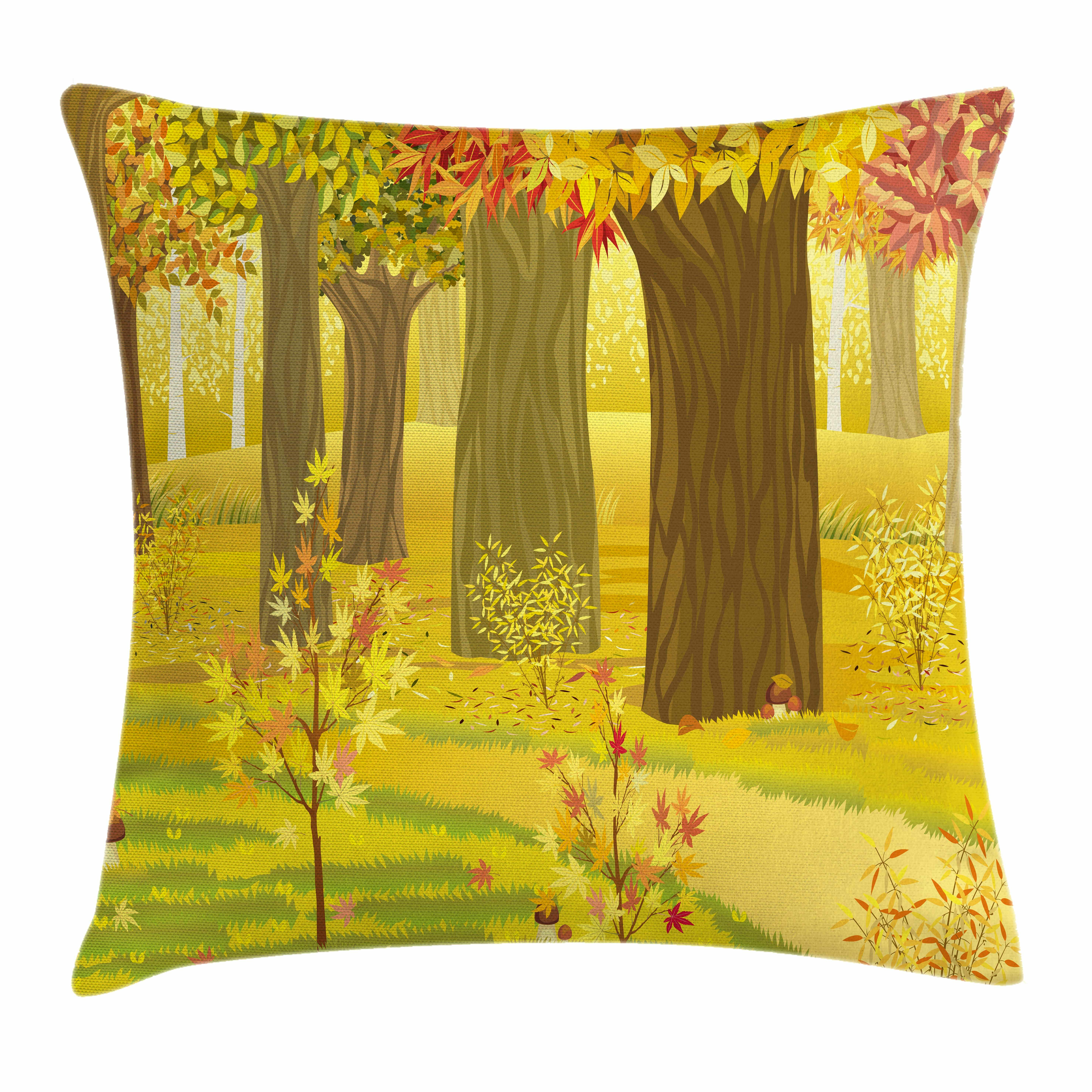 Ambesonne Fall Decor Fantasy Dream Forest Square Pillow