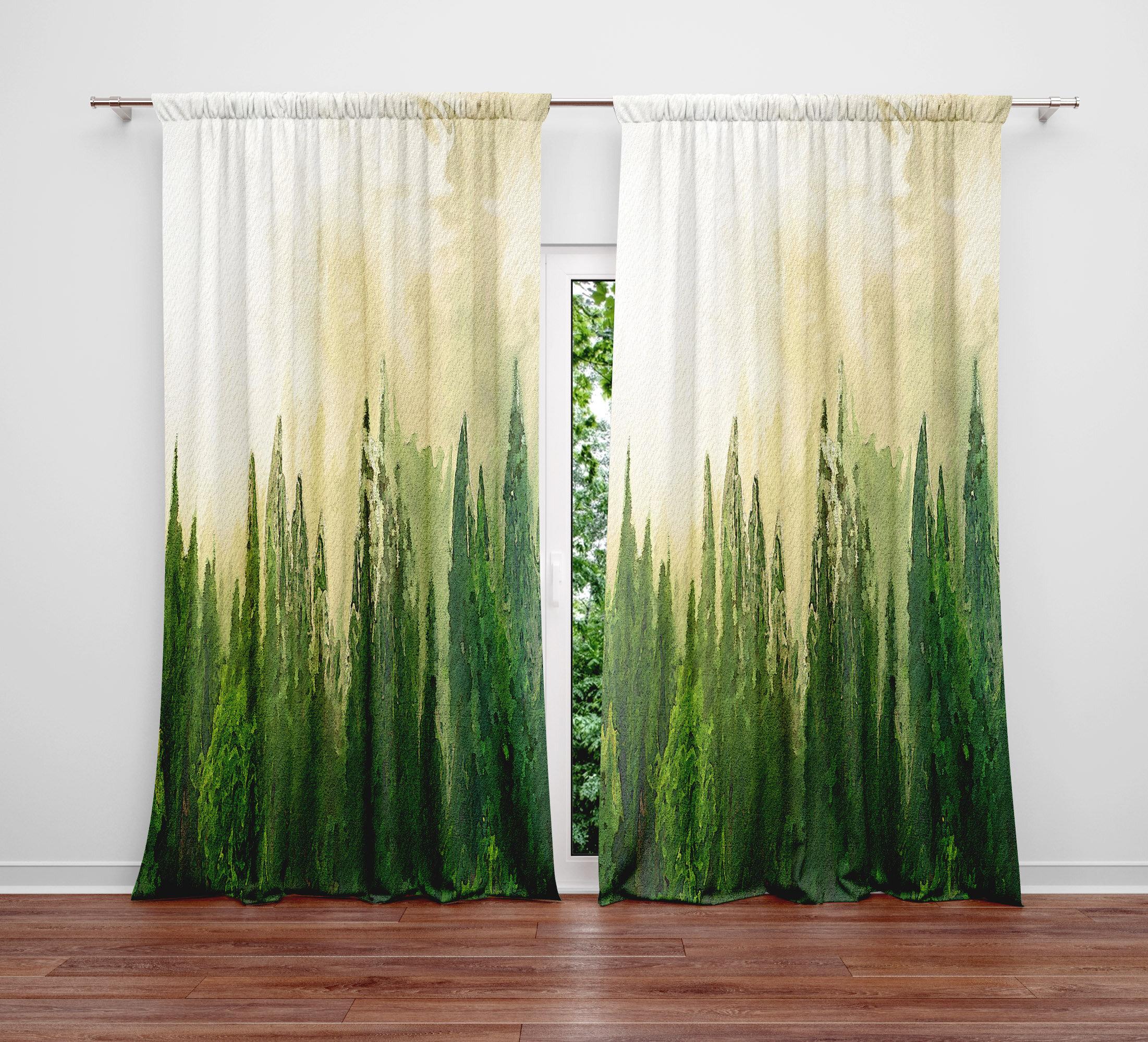 Deja Blue Studios Foggy Pine Forest Semi Sheer Curtain Panels Wayfair