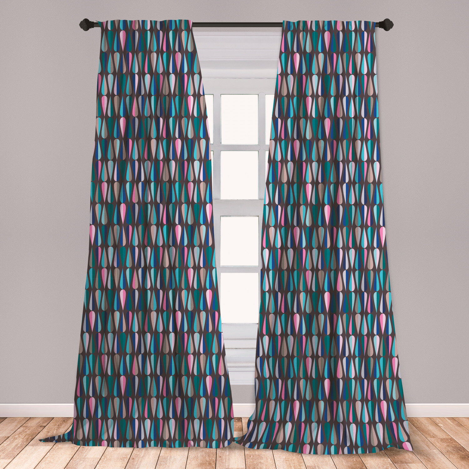 East Urban Home Ambesonne Mid Century Curtains Modern Style Retro Pattern With Droplet Shapes Mosaic In Various Color Tones Window Treatments 2 Panel Set For Living Room Bedroom Decor 56 X 84 Multicolor Wayfair