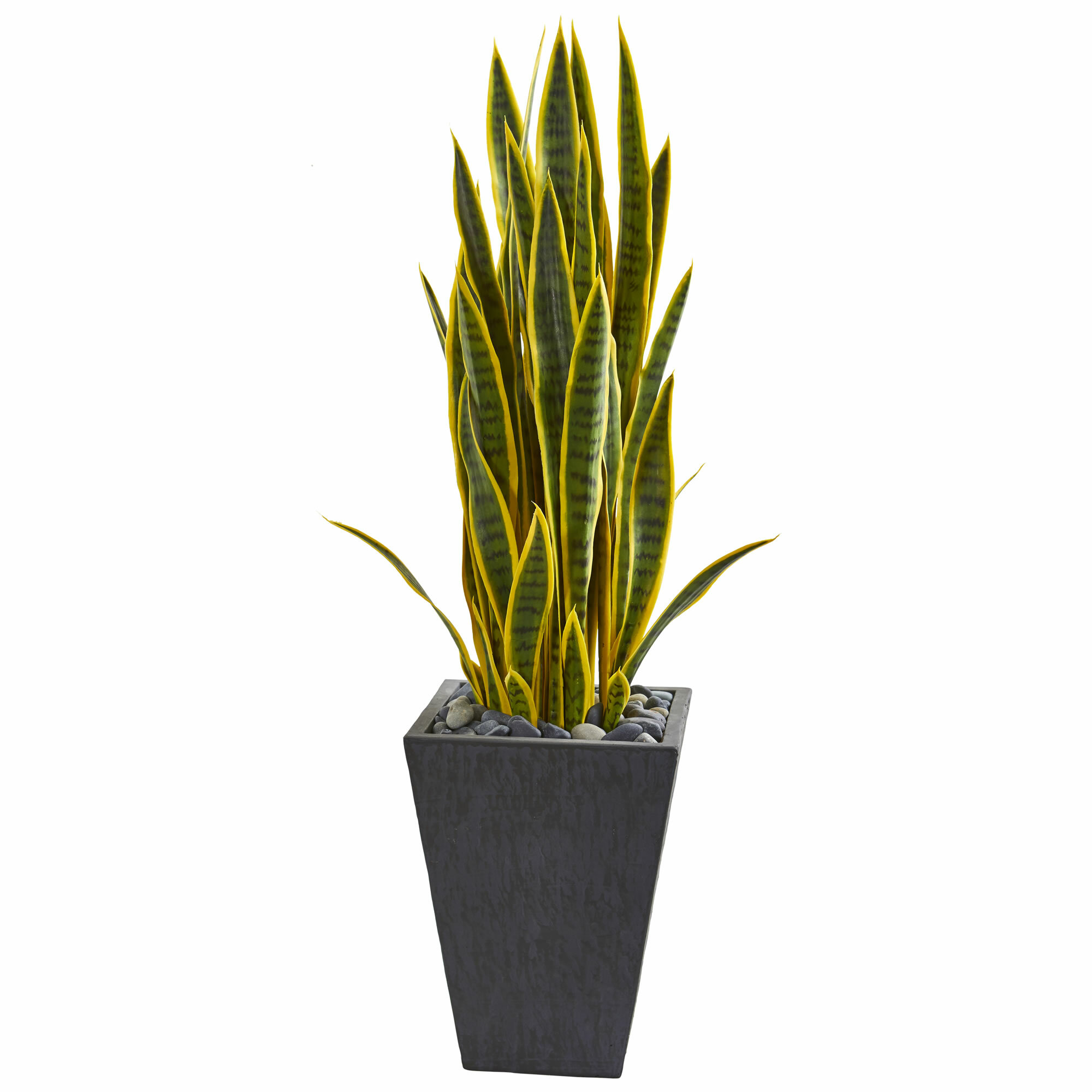 Ollain 4 PCS Artificial Sansevieria Plants 30 Inch Tall Fake Snake Faux Plant for Indoor and Outdoor Home Garden Office Store Decoration Yellow Edge