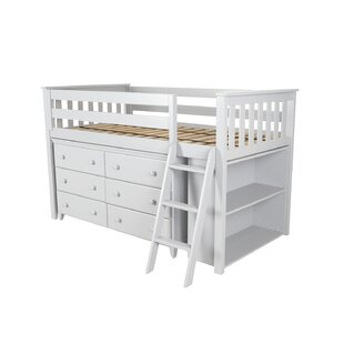 Ginny Twin Loft Bed with Dresser and Bookcase by