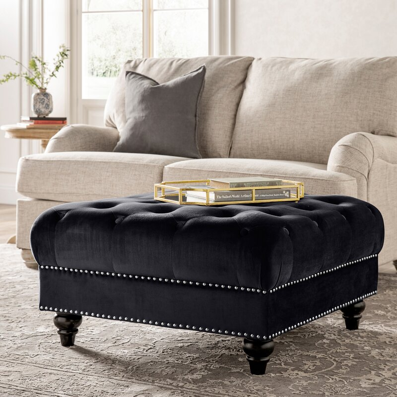 Kelly Clarkson Home Broughton 34 5 Velvet Tufted Square Cocktail Ottoman Reviews Wayfair