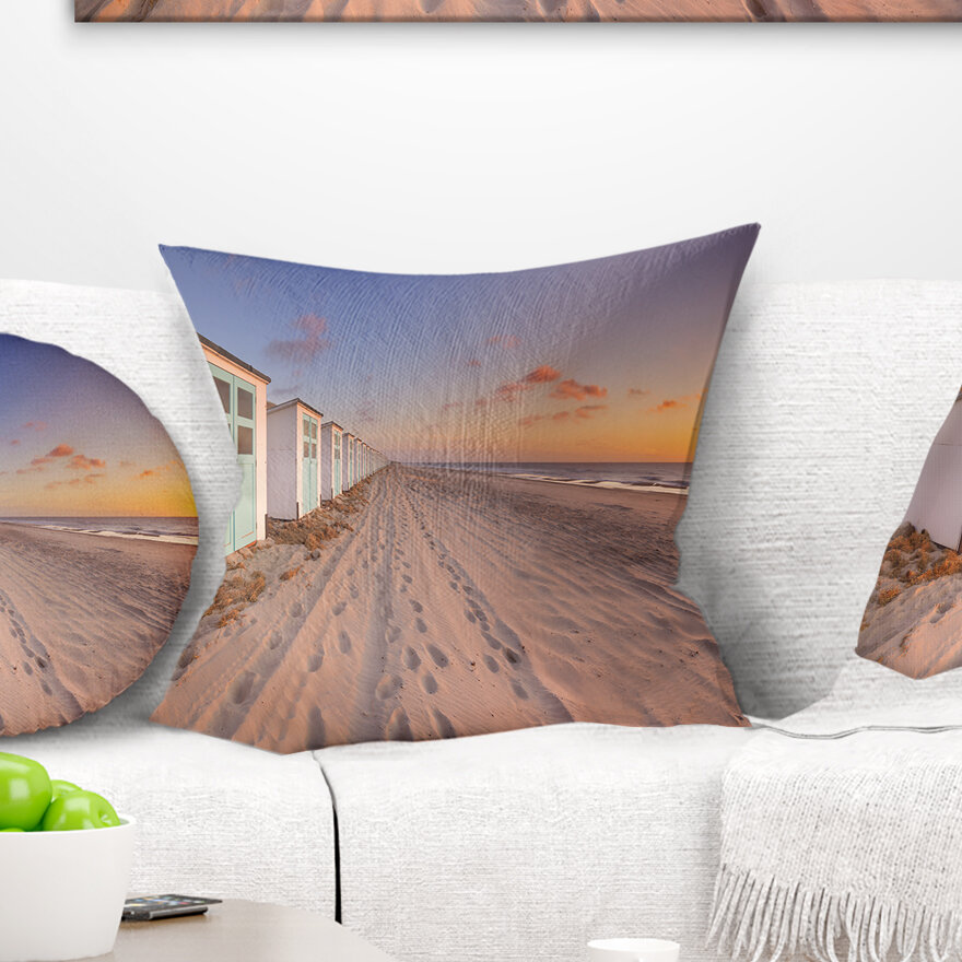 East Urban Home Landscape Row Of Beach Huts At Sunset Pillow Wayfair